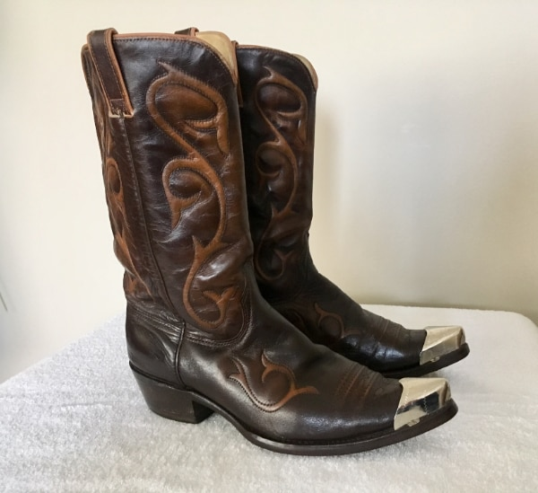 6cc89c0db6c Wrangler Cowboy Boots w/ Toe Guards Mens Size 10.5 D Brown Made in USA  Leather