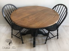 Pedestal Breakfast Table and Two (2) Chairs Dining Room Refinished