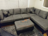 Brand new gray microfiber sectional sofa with ottoman  Silver Spring, 20902