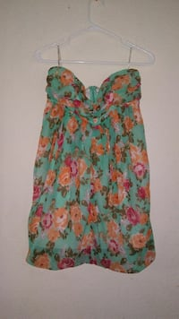 women's teal and orange floral sweetheart dress
