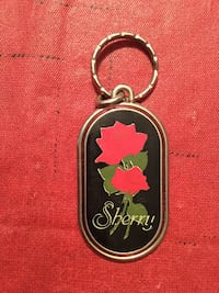 red and green Sherry dog-tag keychain York, 17404