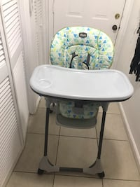 baby's white and blue high chair Sunrise, 33351
