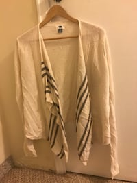 white and black cardigan