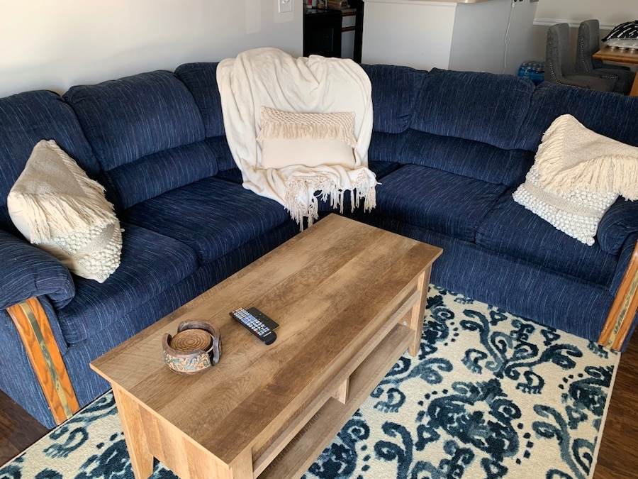 Photo Navy Blue Sectional Sofa and Rug