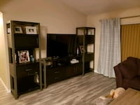 Gray and Black Entertainment Ctr w/ 2 audio towers Gibsonton, 33534