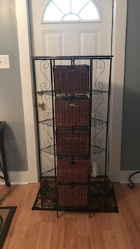 Black wrought iron framed brown wicker drawers Rome, 30165