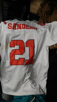 white and red Sanders 21 jersey shirt