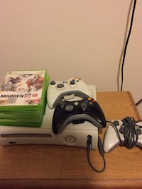 Xbox 360 console with controller and game cases Lancaster