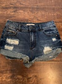 Women's blue denim short shorts