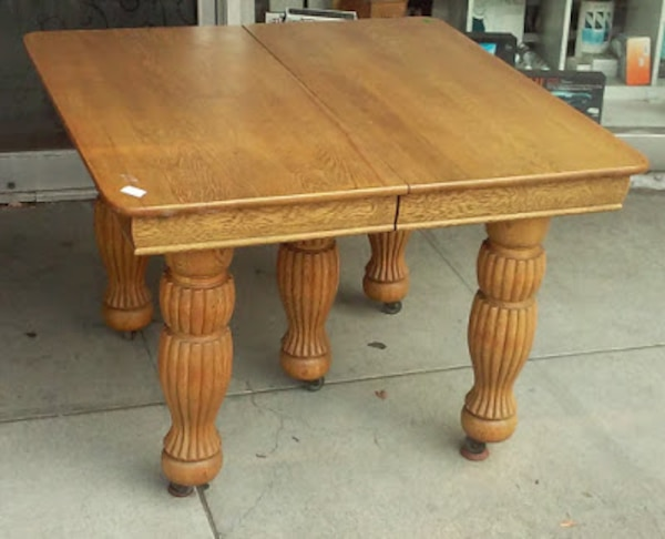 21348 Vintage Victorian Oak 42 Square Dining Table With 6 10 ¾