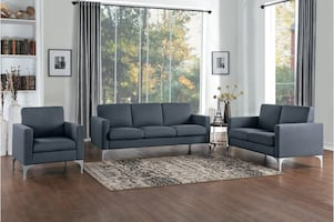 NEW 3 PCS DARK GRAY LIVING ROOM SET