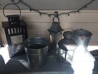Galvanized steel patio lantern n pots Richmond, V6Y 4B1