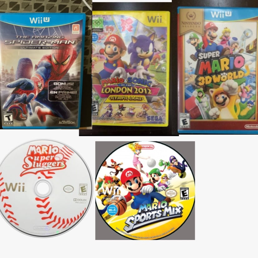 Mario games and Spider-Man games Nintendo Wii u and Wii