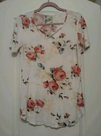 white and red floral print dress shirt Corona, 92880