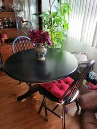 Round Black Wooden Table with four chairs dining s Los Angeles, 91403