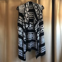 Women's black and white vest cardigan