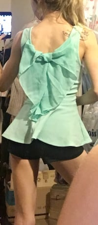 Persaya teal shirt with large bow on back Portland, 97206