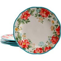 "The Pioneer Woman Vintage Floral 10.5"" Dinner Plate Set, Set of 4 Whittier"