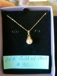 14K gold necklace with pearl charm