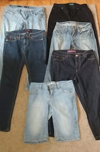 five assorted-color denim pants and one blue denim shorts INVERNESS