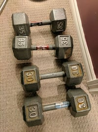 two pairs of gray and black dumbbells Burlington, L7L 2Z4