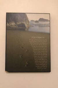 "Footprints wooden wall hanging (8""x10"") Centreville"