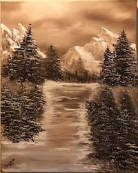 16x20  Snow covered mountains and pine trees mostly browns and creams oil painting Hendersonville, 37075