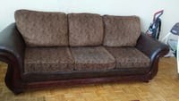 brown leather and fabric padded 3-seat sofa Ontario, M9B 4A7