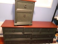Long dresser and 1 night table
