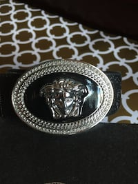 Beautiful Black with Silver Black Buckle Leather Belt in Box Mississauga, L4Z 3M4