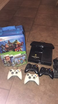 black Xbox 360 console with controller and game cases Abilene, 79606