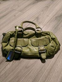 DKNY green leather small purse with pockets - $40