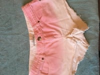 Pantalons courts en denim et orange et rose