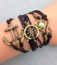 NEW Infinity Anchor Heart Round Leather Charm Bracelet Plated Copper. Calgary
