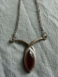 Sterling Silver Necklace with Genuine stone