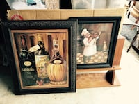 two paintings of three wine bottles and chef playing piano Gulfport, 39503