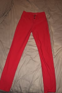 Red high waisted push jeans