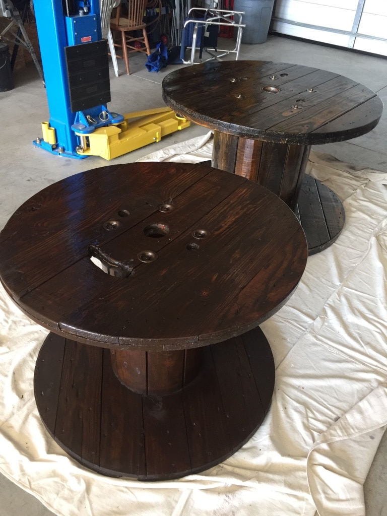 used stained wooden spool tables 30 each for sale in northwood letgo rh us letgo com