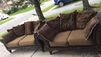 brown and black fabric loveseat 768 mi