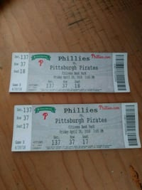 two Phillies vs. Pittsburgh Pirates tickets Philadelphia, 19124