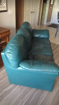 Blue leather 3-seat sofa-will take out ad if gone! Calgary, T3J 3A1