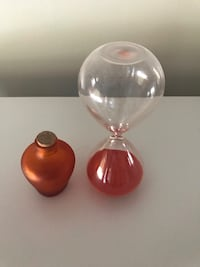 Orange Sand Hour Glass and Bottle