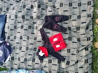 red and black Mickey Mouse zip-up hoodie and pants