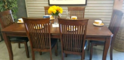 7 PC solid wood mission style dining set