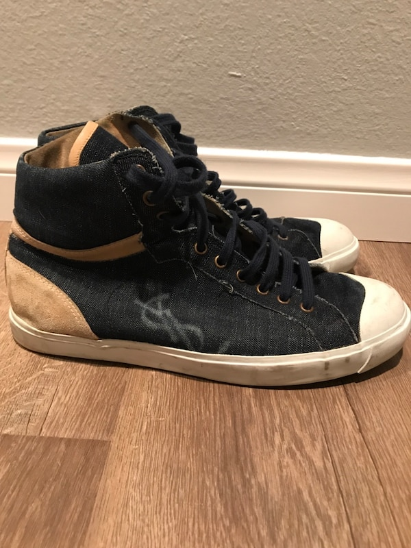 Size 10 (43 EU) Authentic Saint Laurent men's high top denim sneakers 0d2c48c8-a3cf-4406-bd77-3e62f648fc56