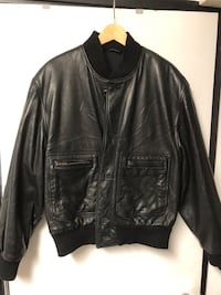 Hugo Boss black Nappa leather bomber jacket sz 40 (M/L)