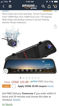 Mirror Dash Cam Front and Rear, 10 Inch Touch Screen Front 1080P  Toronto, M1P 4A8