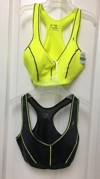 women's two green and black sports brassiere