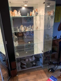 Glass cabinet with mirror background & light