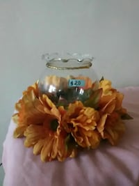 clear glass candle holder with faux daisies Reading, 19601